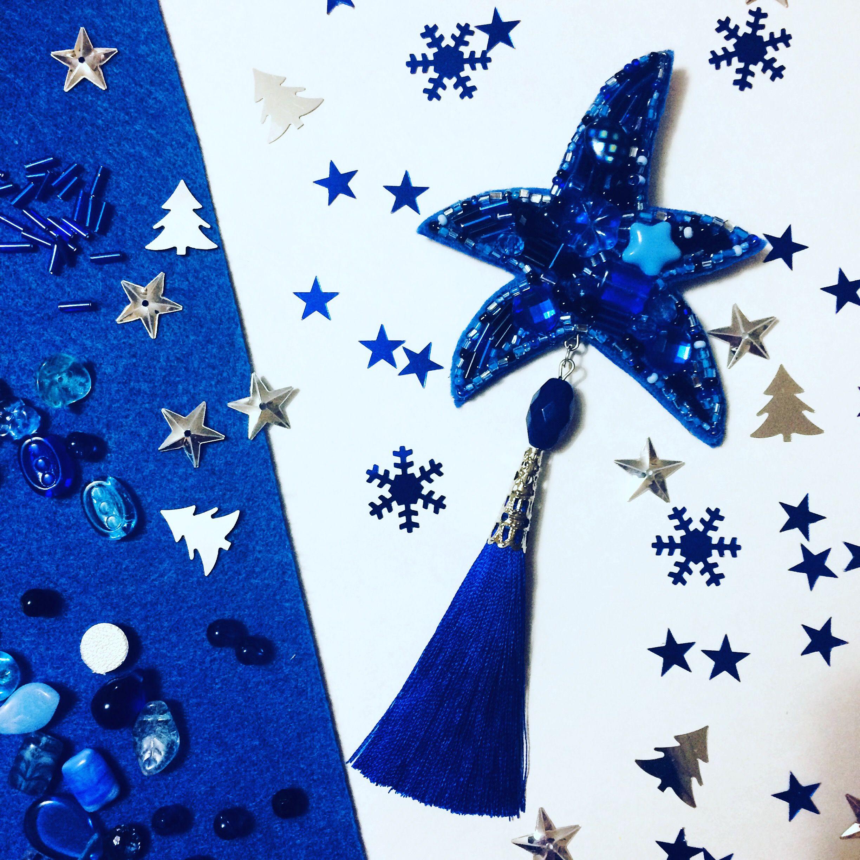 украшения аксессуары новосибирск брошь бусины бисер синий