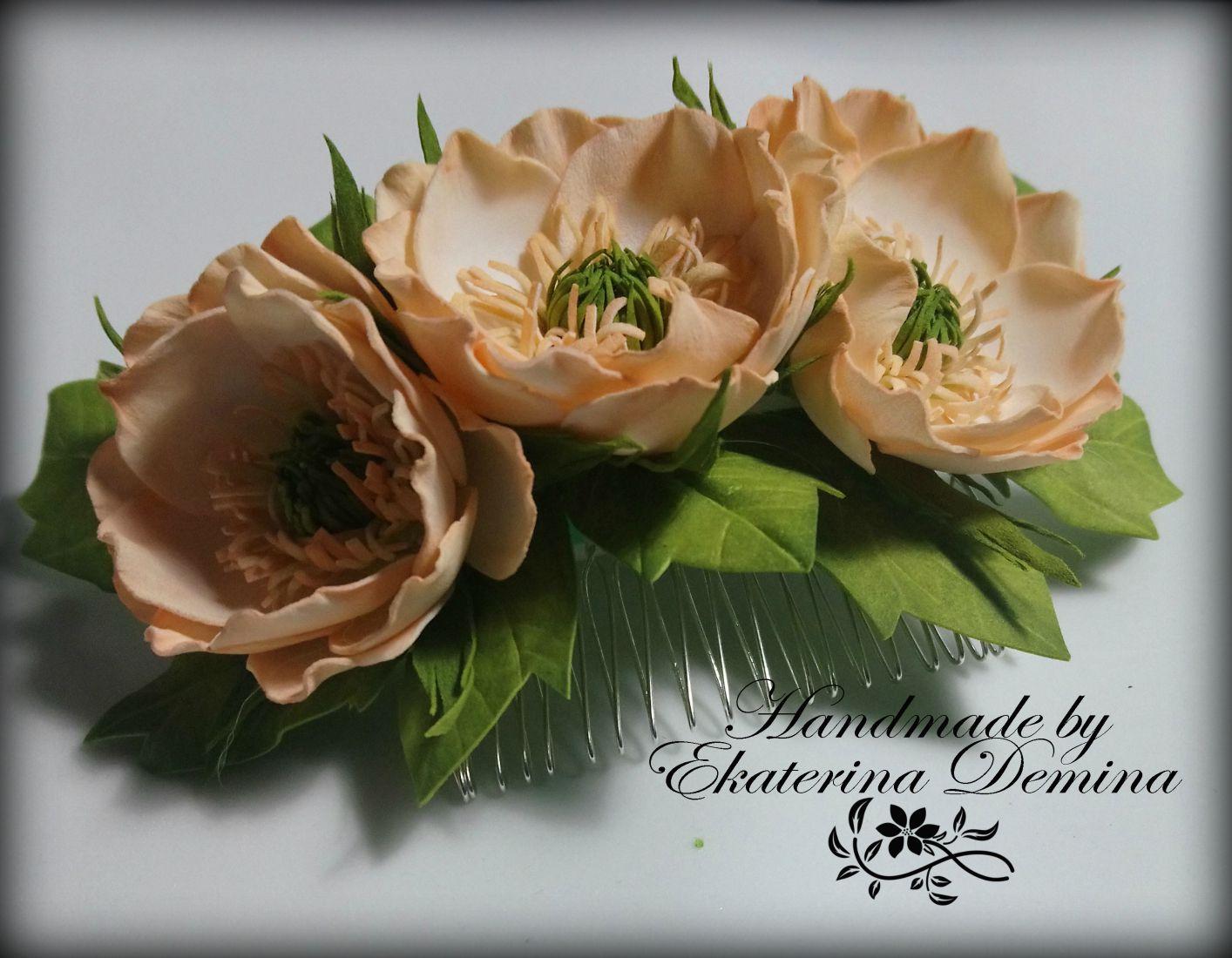 аксессуар гребень фоамиран цветок заколка