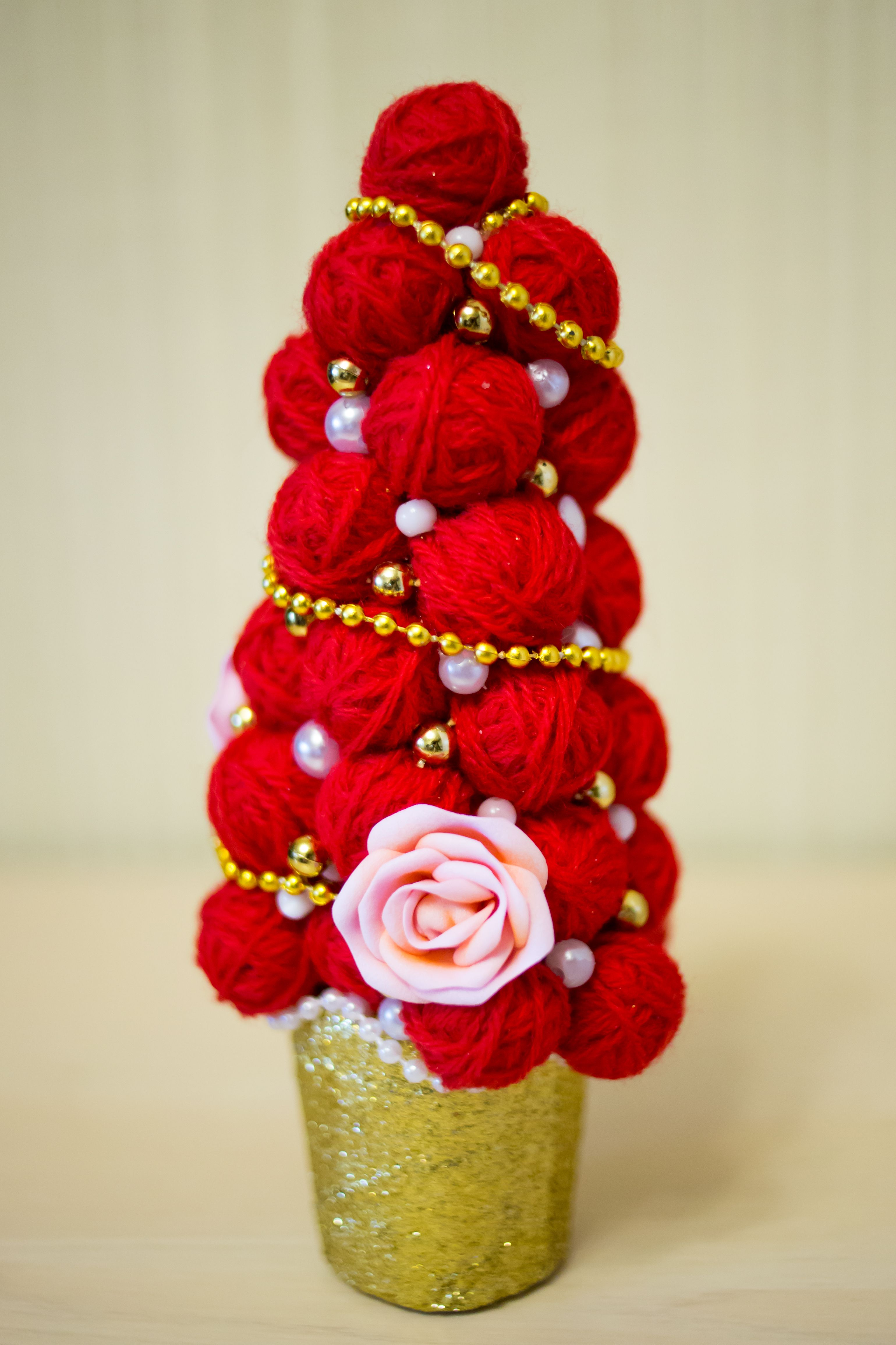 красивая хэнд-мейд красная елочка модная фоамиран елка декор пряжа