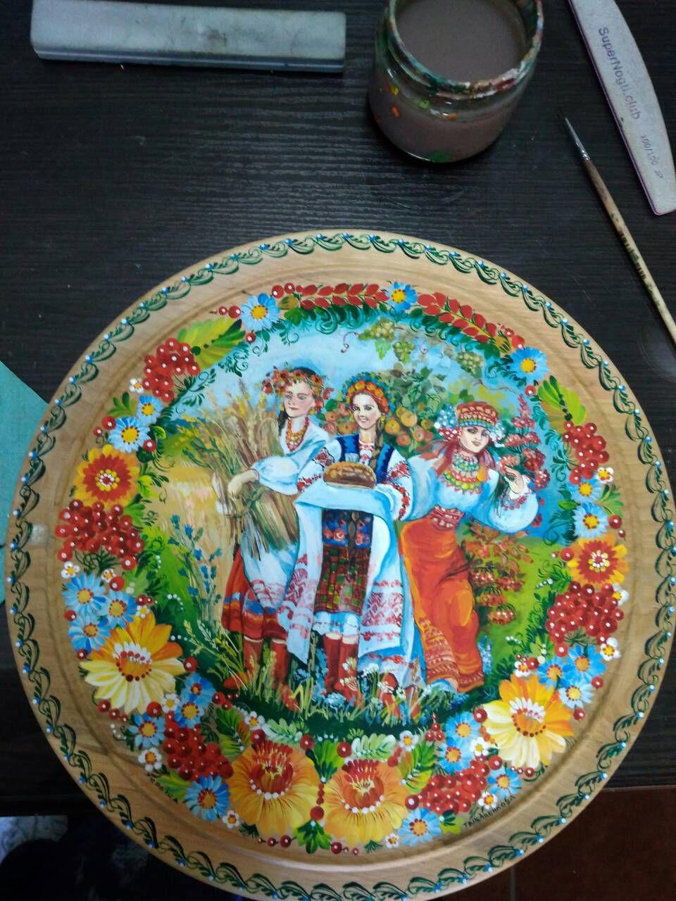 роспись декоративная сувенир украинский тарелка подарок