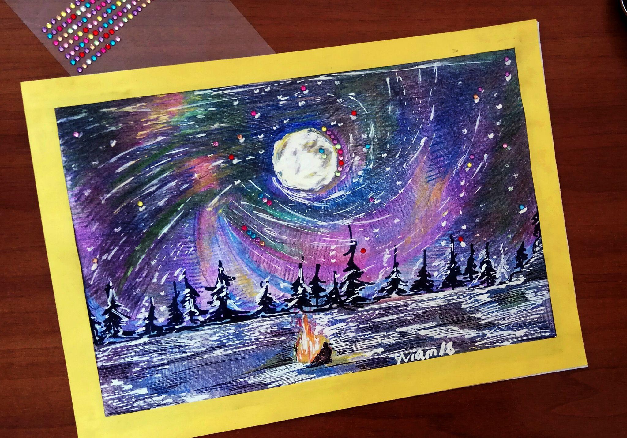 путешествие странник картина небо вселенная рисунок ночь горы звездное карандаши космос цветные