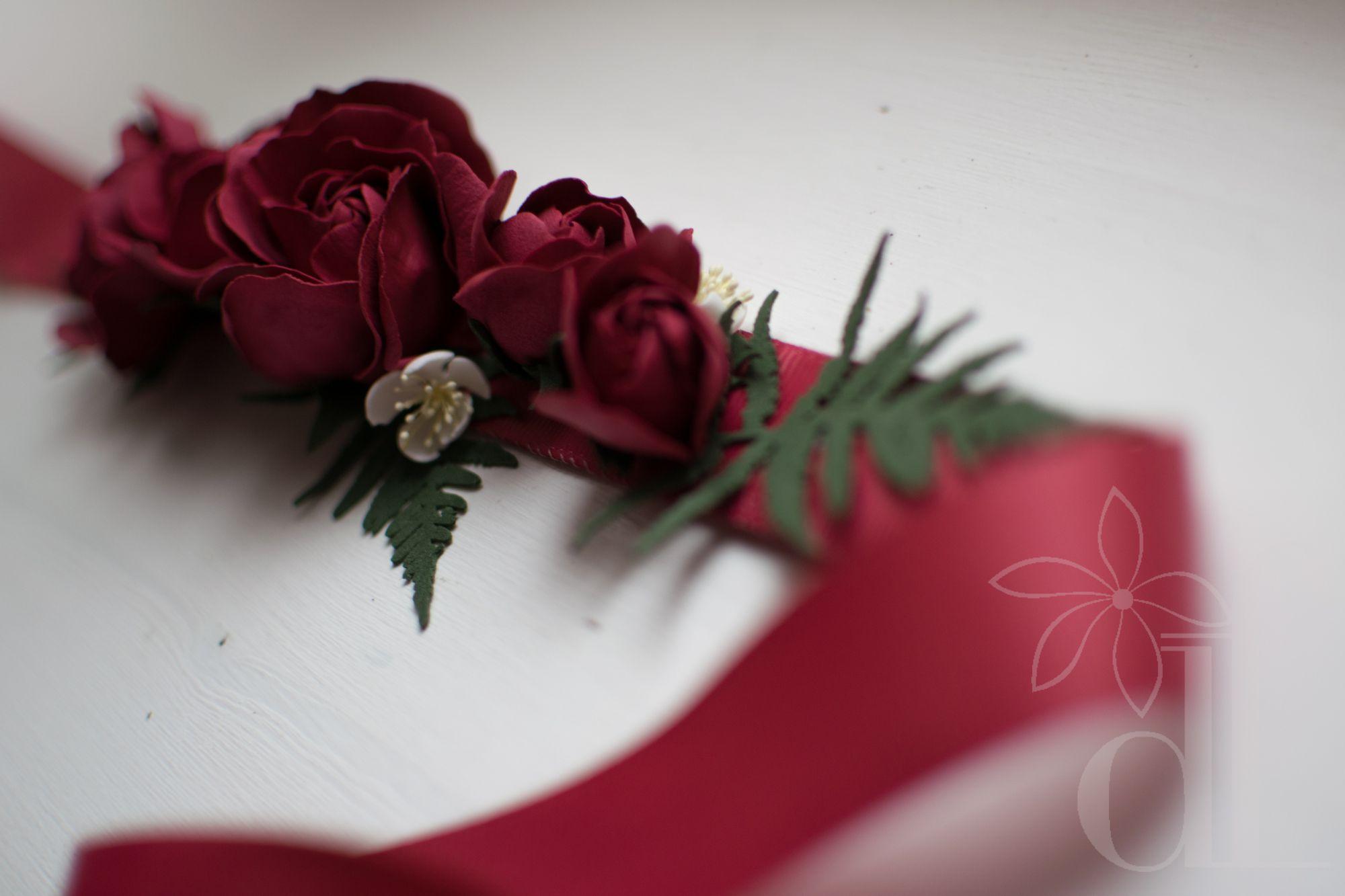 свадебноеплатье фоамиран аксессуары свадьба пояс цветы