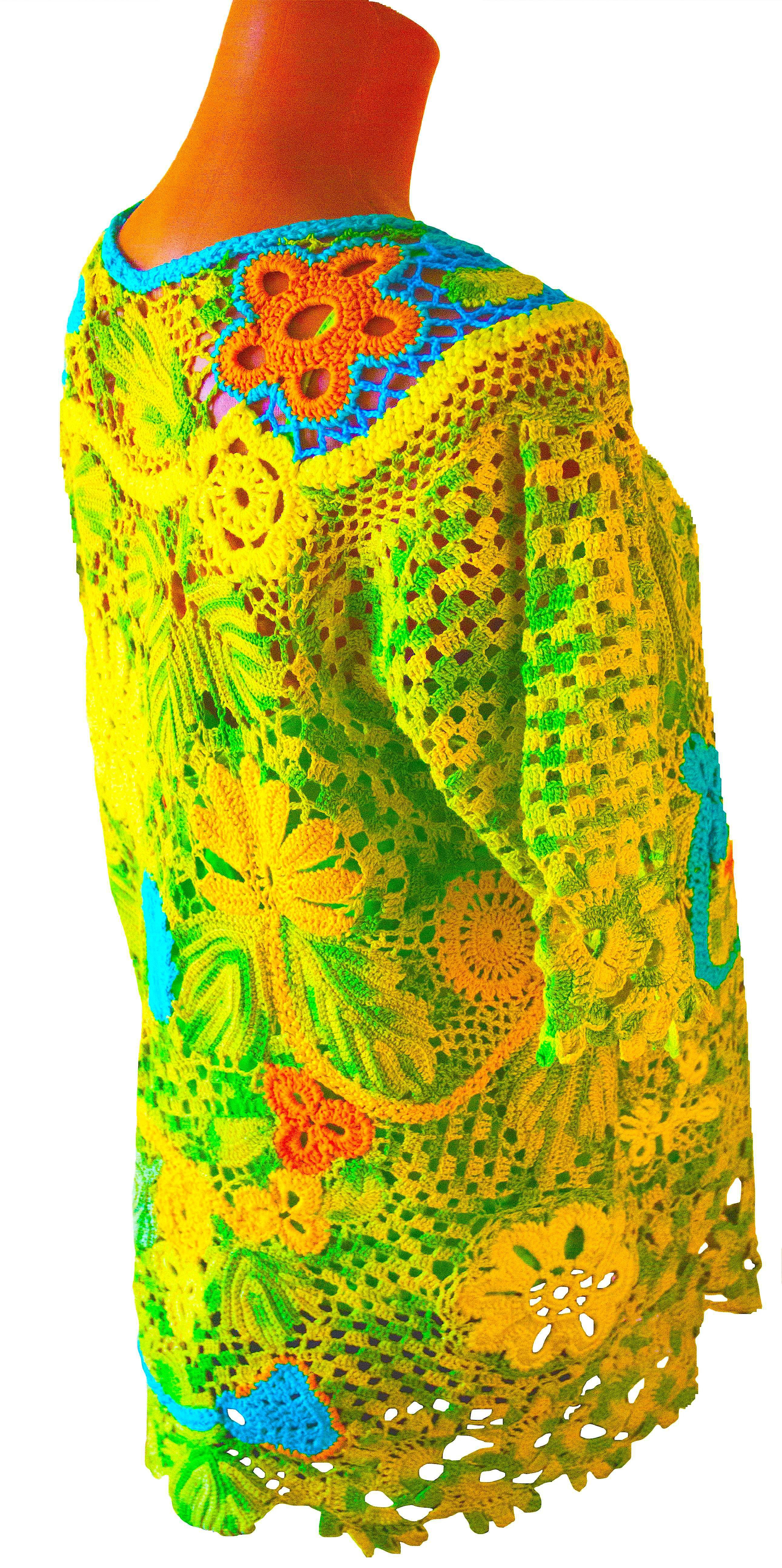 цветочный туника-вязаная авторская-ручная-работа наборное-кружево туника-крючком туника-летняя туника-ажурная сцепное-кружево авторский-дизайн