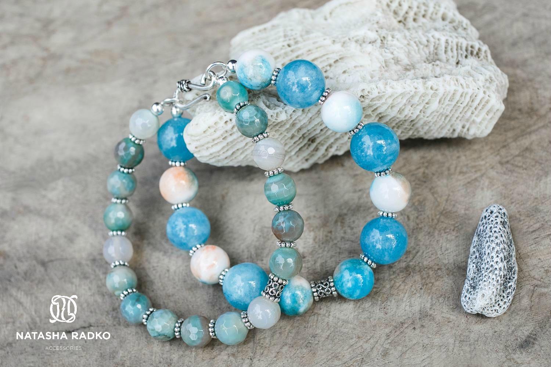 амазонит украшение браслет агат натуральные серебро камни кварц подарок