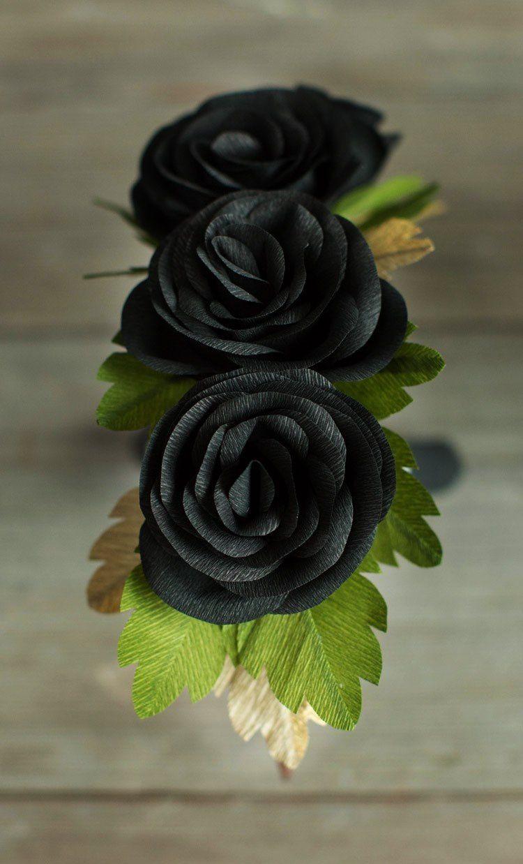 ободок хэллоуин цветы венок розы готика бумага роматично красиво