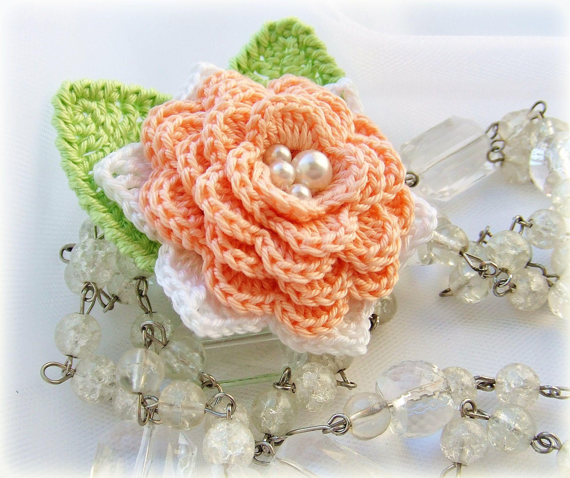 брошь-цветок персиковый 100% вязаная брошь хлопок