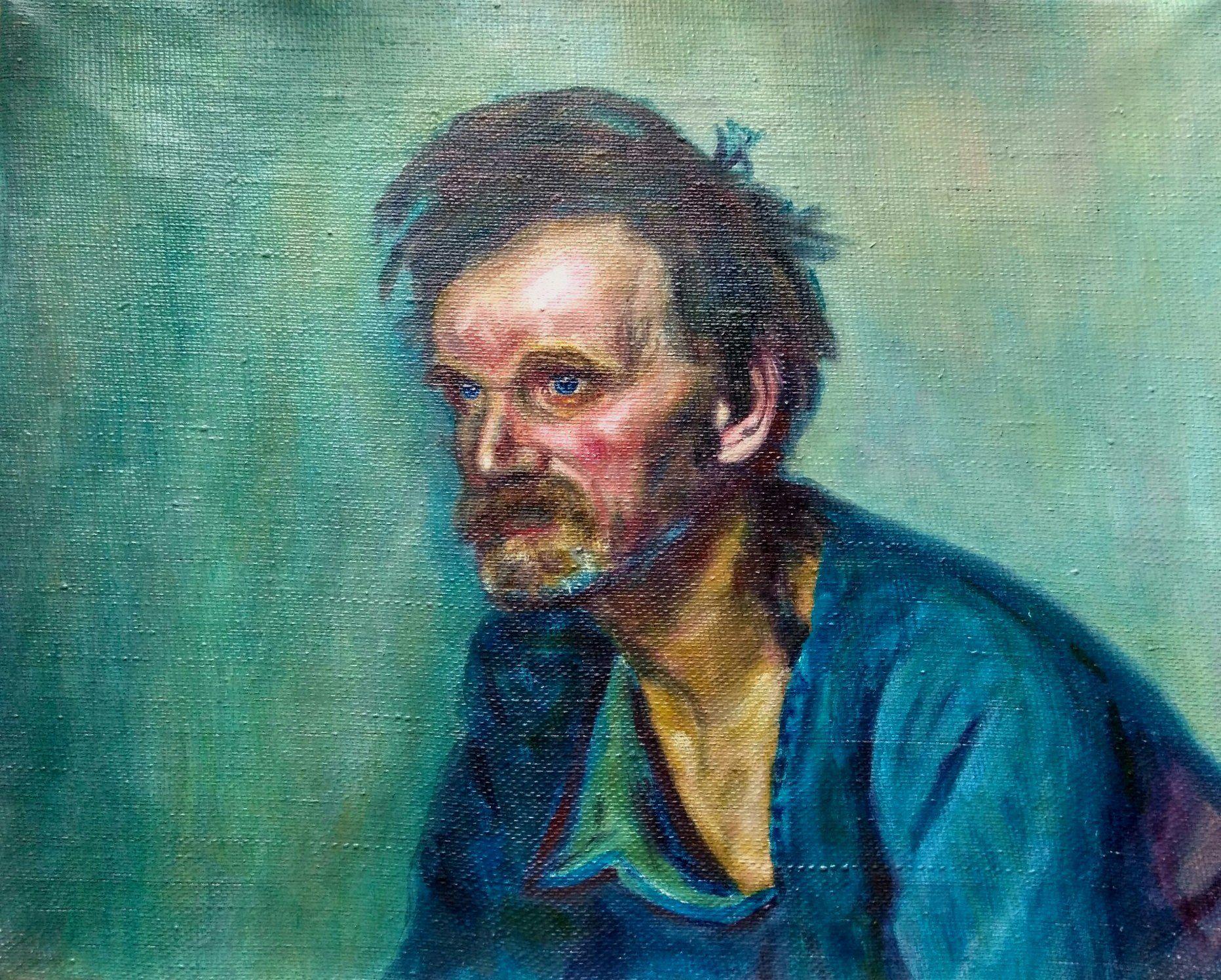 oilpainting холодная маслом старик портрет синий гамма картина
