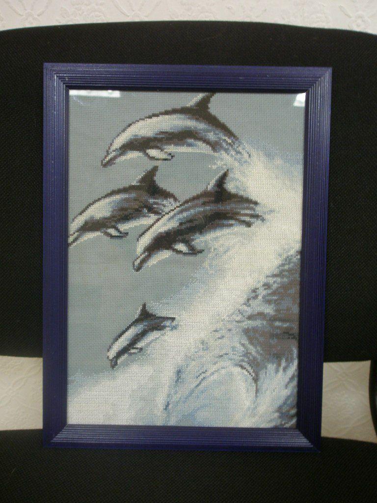волна интерьера подарок картина дома работа детскую дельфины ручная океан для вышивка крестиком