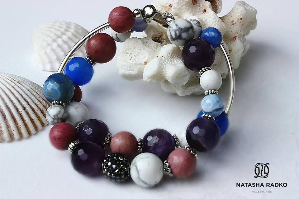 родонит кахолонг украшение браслет агат натуральные аметист серебро камни подарок
