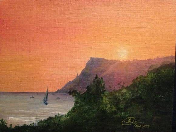 закат живопись искусство море горы масло природа картина пейзаж
