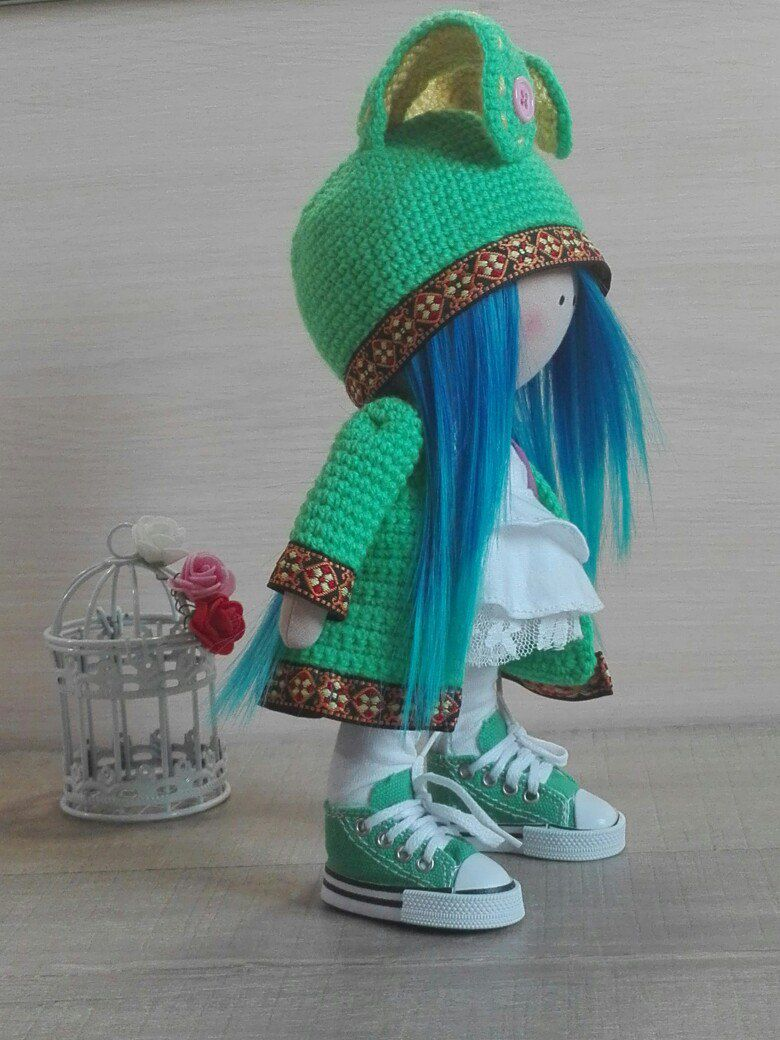 интерьерная своими аниме с из руками кукла уши зеленый малышка инерьер герой мультика ушами синими волосами шапке большеголовка кедах в подарок