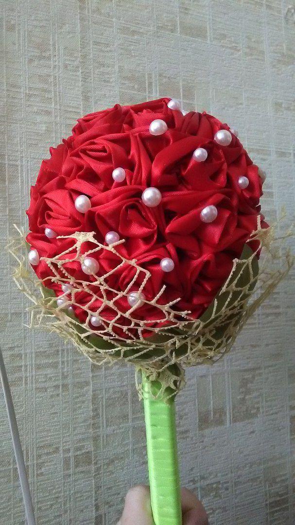 свадьба своими_руками ручная_работа дублер handmade невеста красный букет на_память жемчуг алый букетдублер букетневесты с_любовью