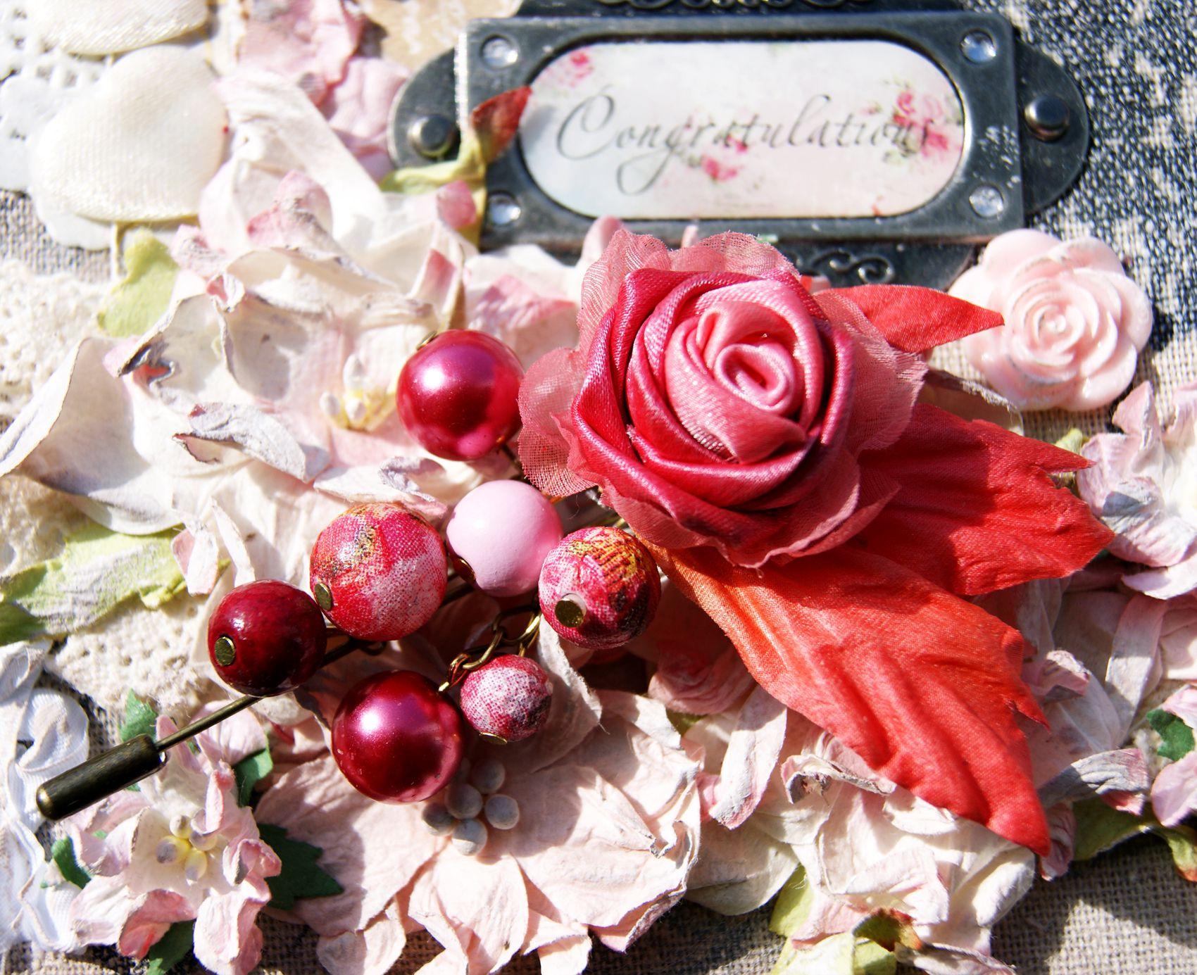 шелк подарок роза булавка