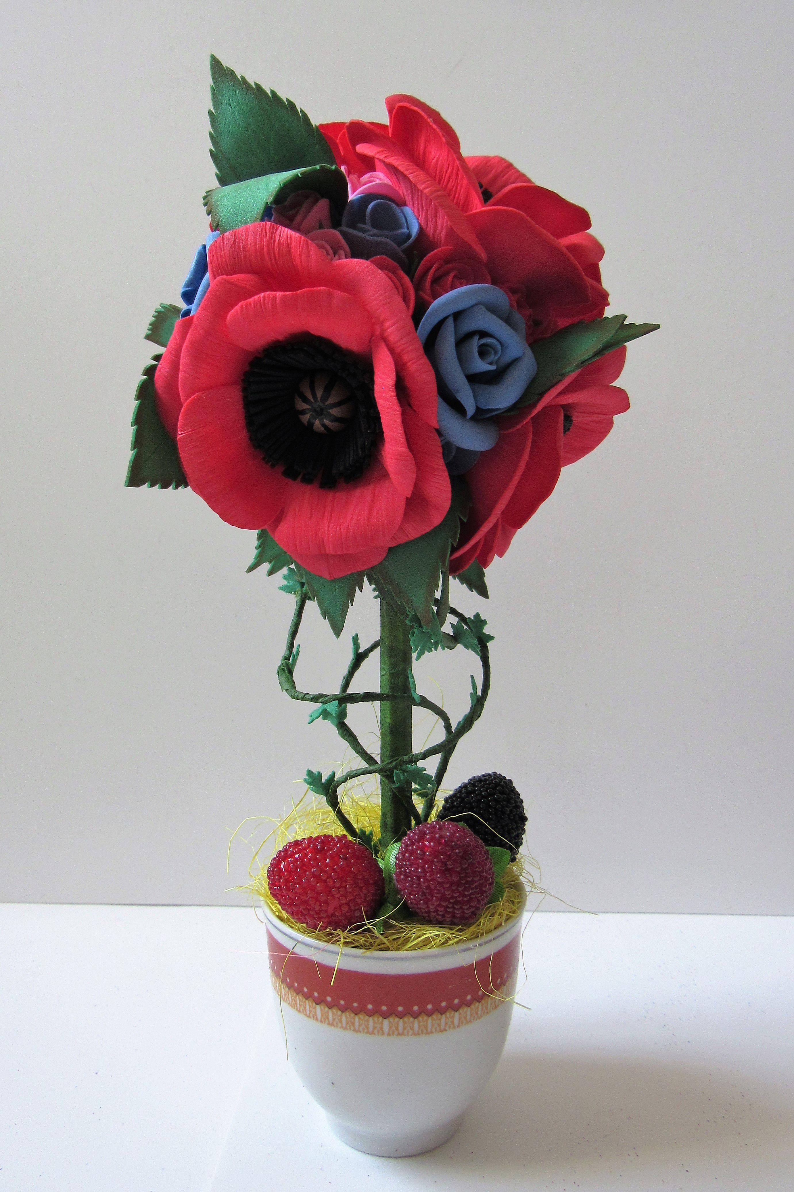 маки топиарий фоамирана из розы цветы