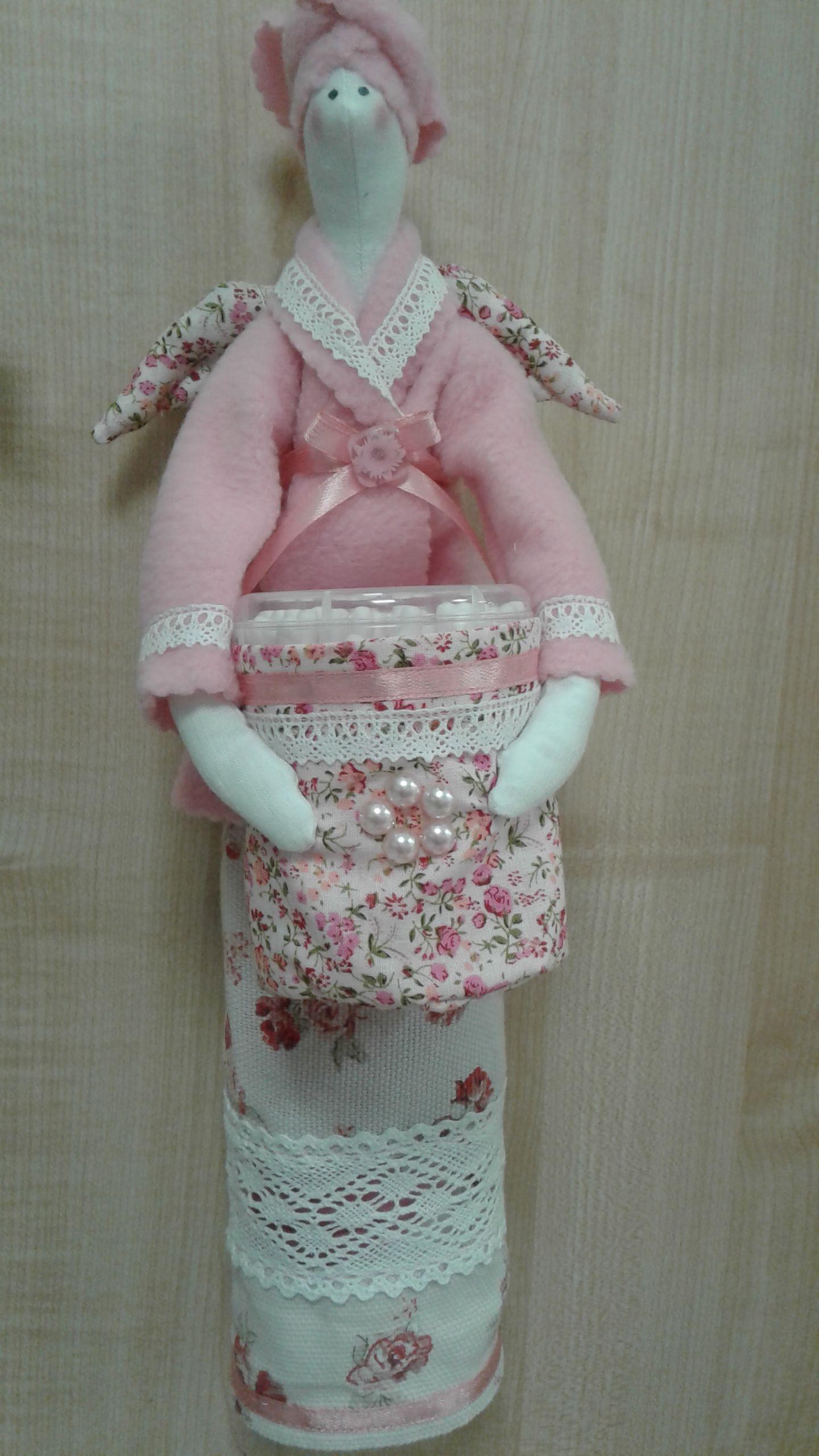 хранительница дисков тильда ватных ванная ручная работа кукла подарок палочек