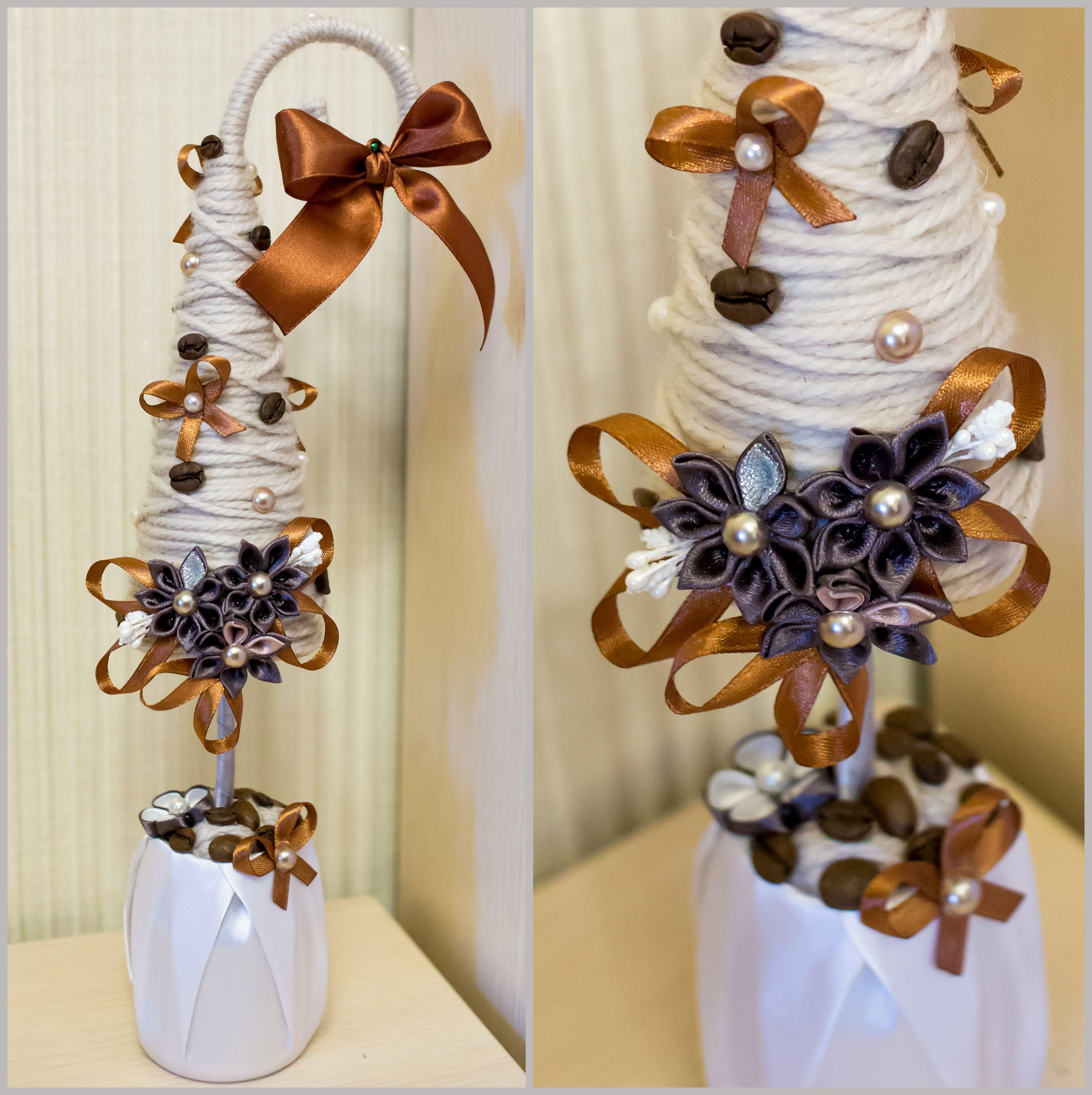 модная елочка коричневая красивая хэнд-мейд кофе елка декор атлас
