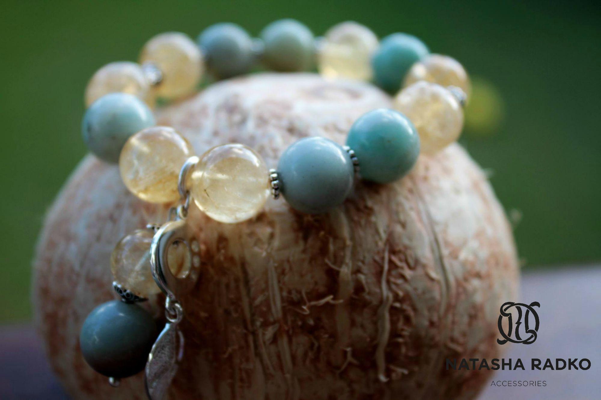 цитрин амазонит украшение браслет натуральные серебро камни подарок