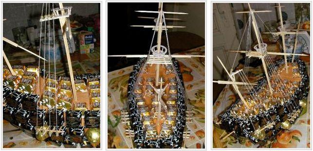 Корабль из конфет мастер класс 25