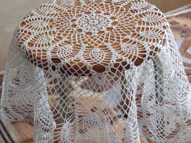 скатерть ажурная подарок салфетка люрексом вязаная