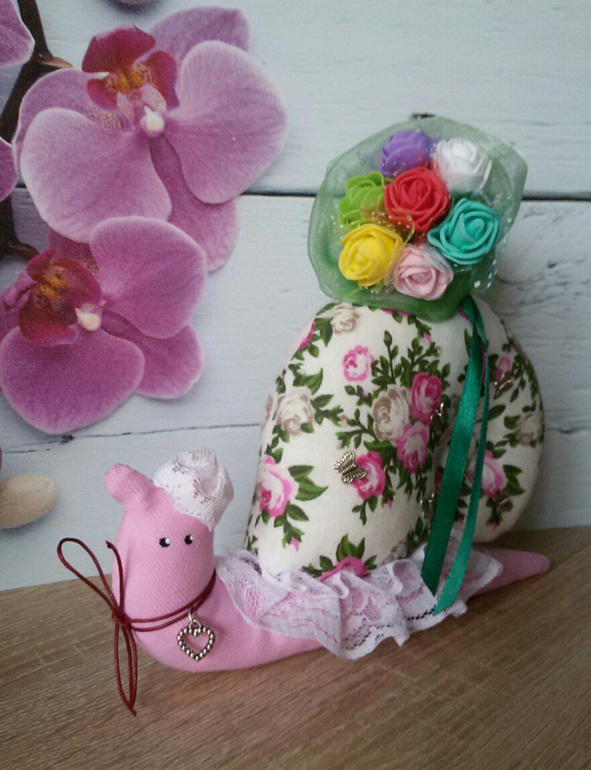 интерьерная игрушка кукла тильда улитка подарок