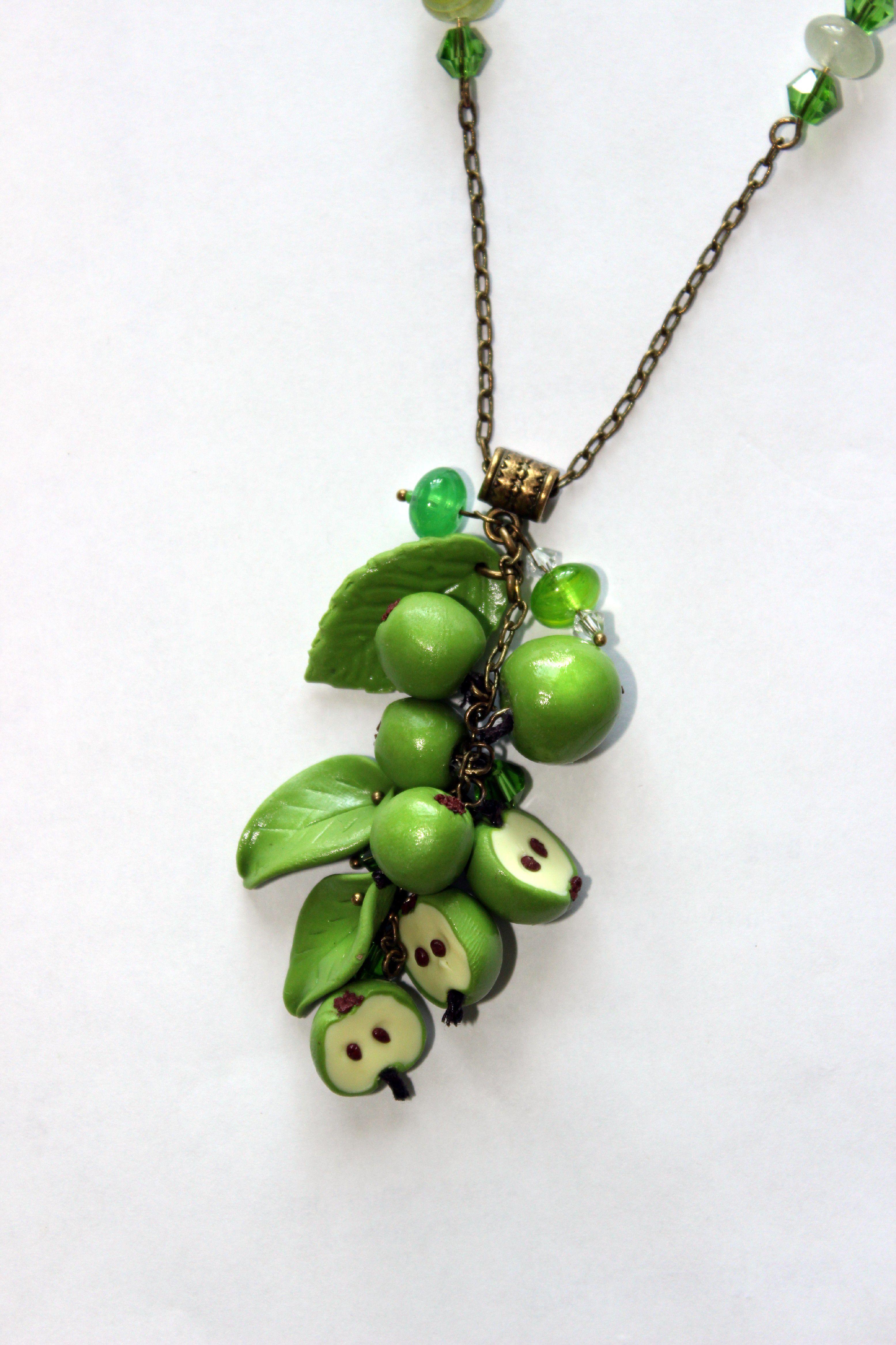 полимерная глина зеленый кулон яблоки ручная бусины лето украшения подвеска фрукты работа бижутерия