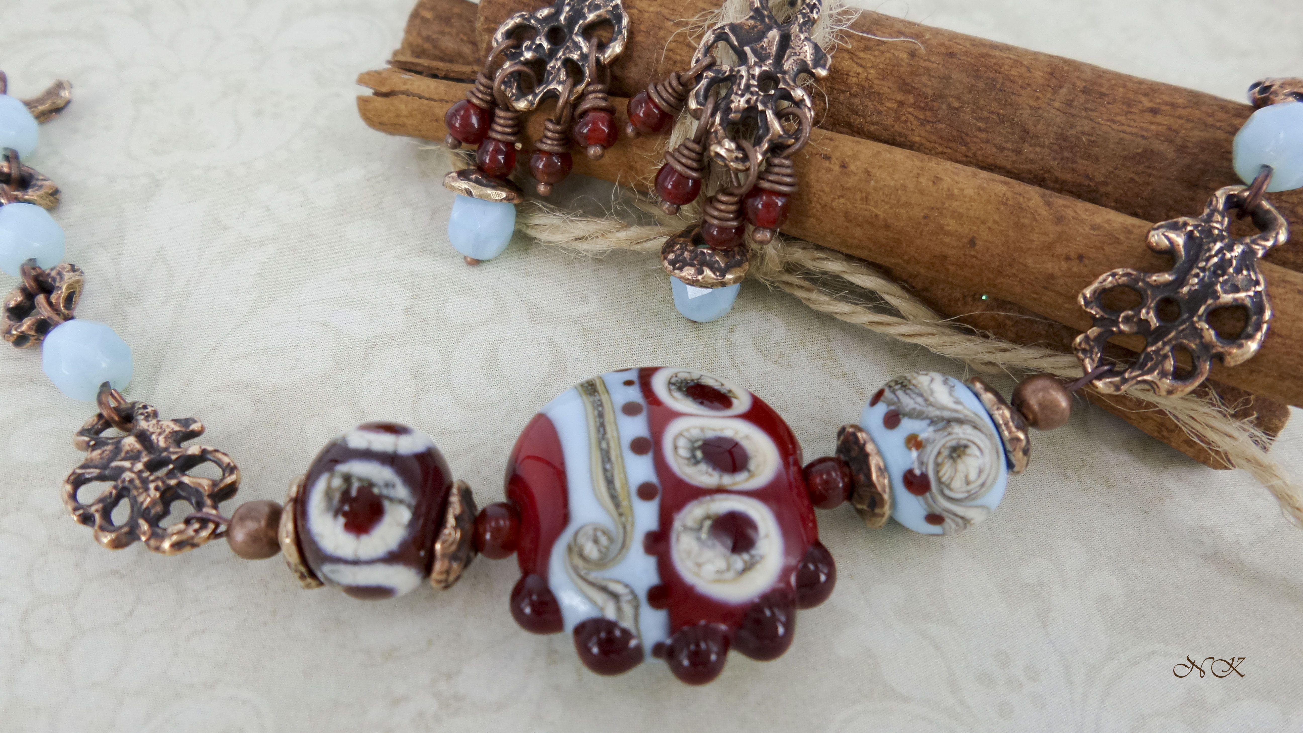 стеклянные рождения женщине медная браслет серьги на бусины день комплект авторская фурнитура подарок лэмпворк швензы фурнитурасеребрянные