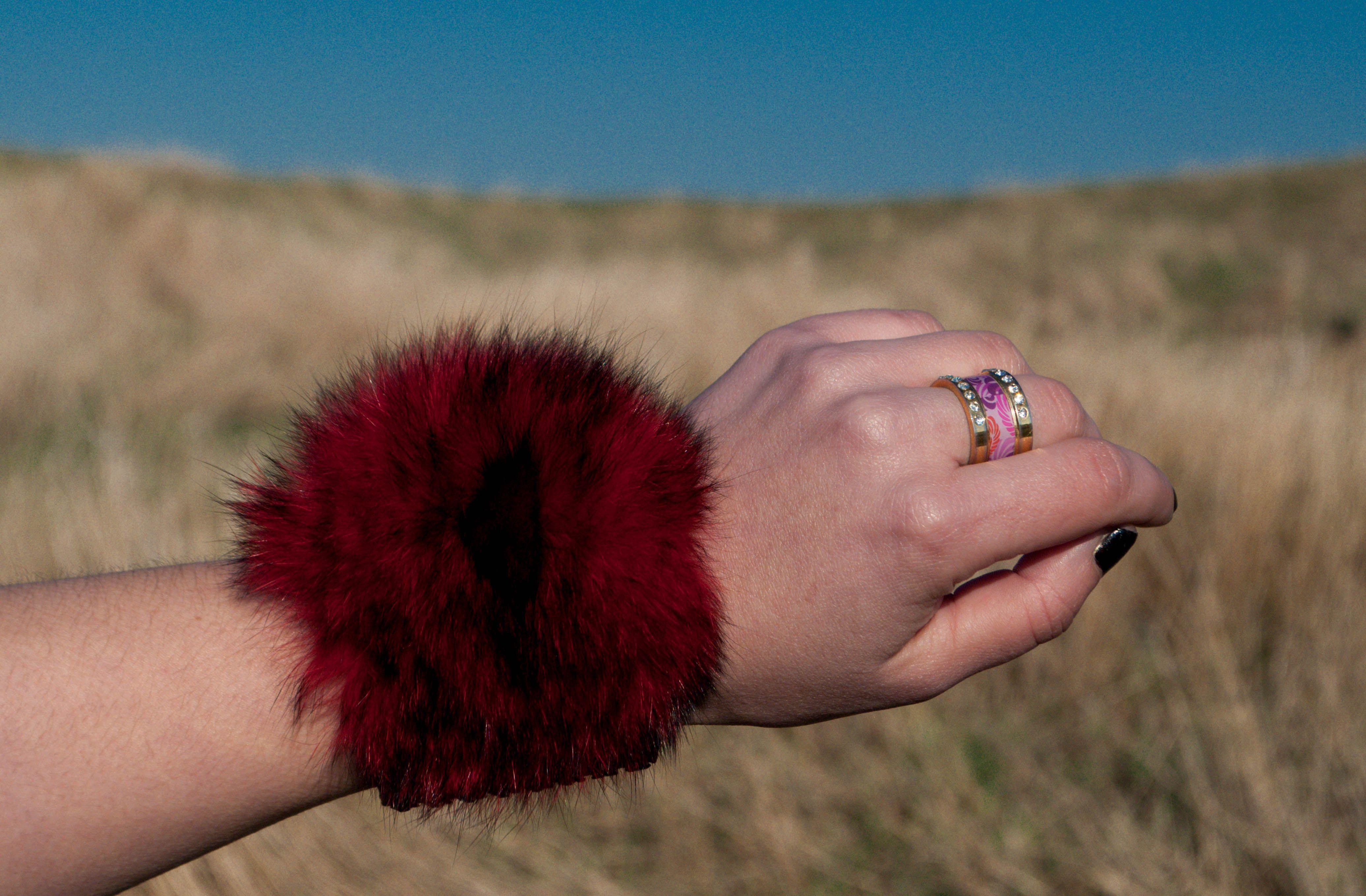 браслет браслеты мех яркие женские меховой украшения креативные натуралный