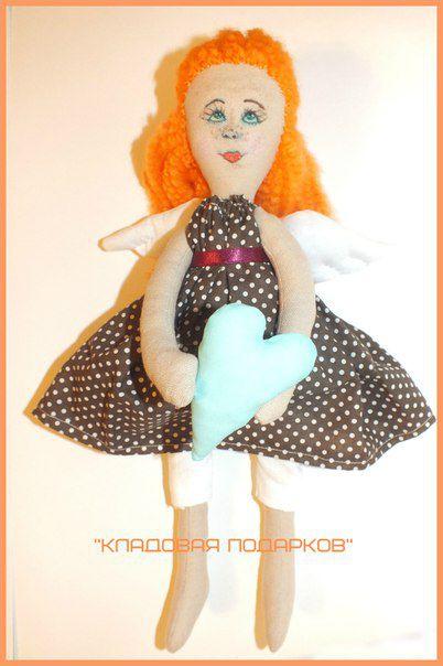 подарок кукла работа ручная сердце рыжая крылья ангел