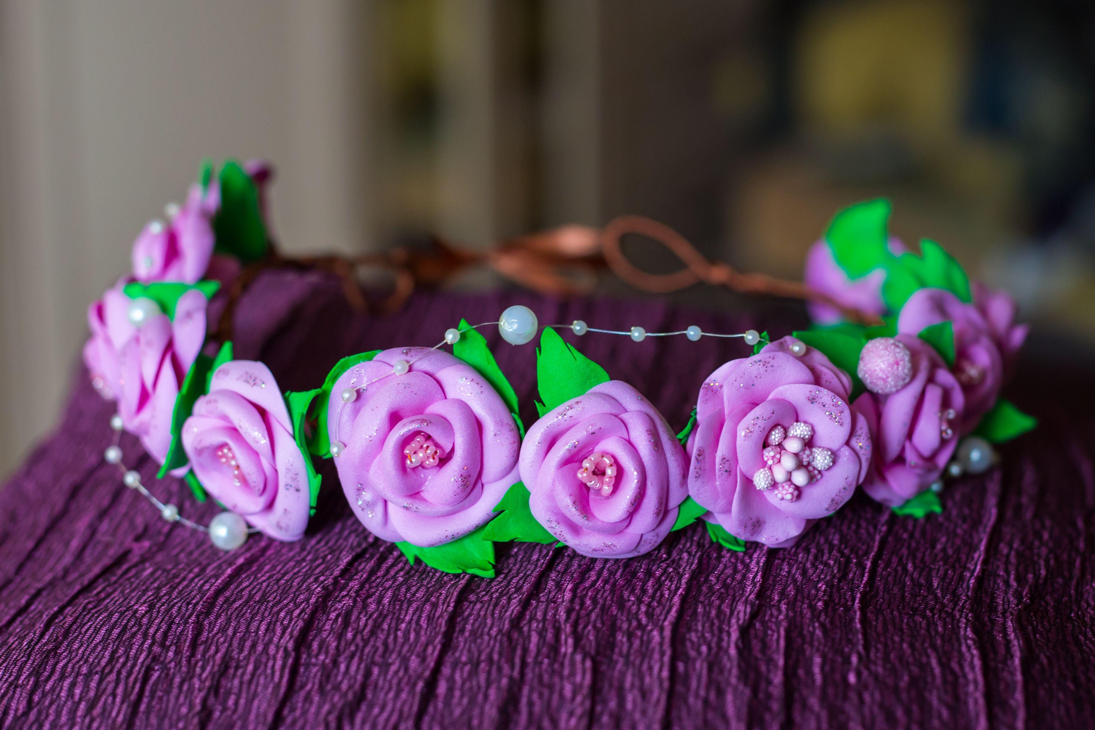 красивый свадебный нежный розовый бусины атлас тычинки фоамиран цветы венок