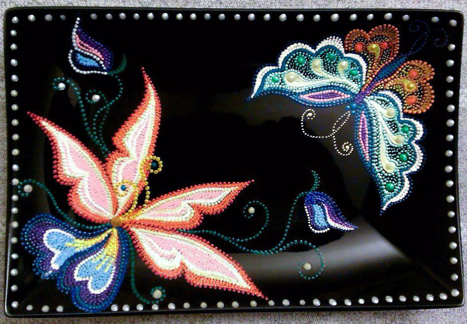 точечнаяроспись декоративнаятарелка тарелка бабочки handmade декор ручнаяработа фантазия подарок