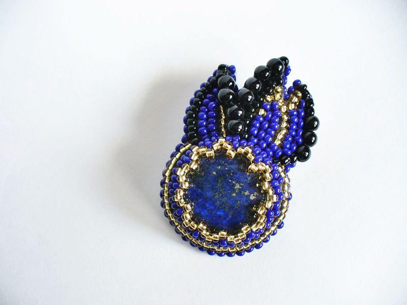 кожа ручнаяработа синий бисер золотой брошь вышивка черный handmade лазурит рукоделие лавкалисицы