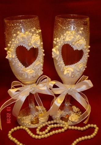 Свадебные бокалы своими руками 9