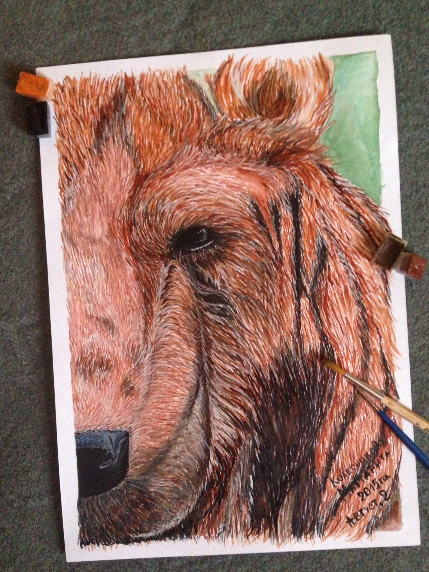 гостиная продаю картина декор стиль живопись дизайн интерьер продажа дача офис столовая медведь продам животные акварель искусство арт творчество дом