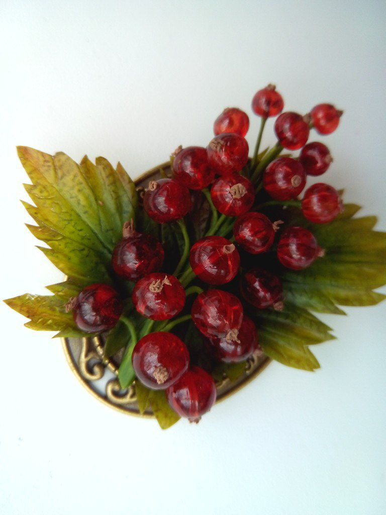 холодный ветке эпоксидки яркокрасный на фарфор красная хендмейд презент смородина цветок флористика полимерной глины из брошь украшения ручной работы ягоды подарок керамическая цветы
