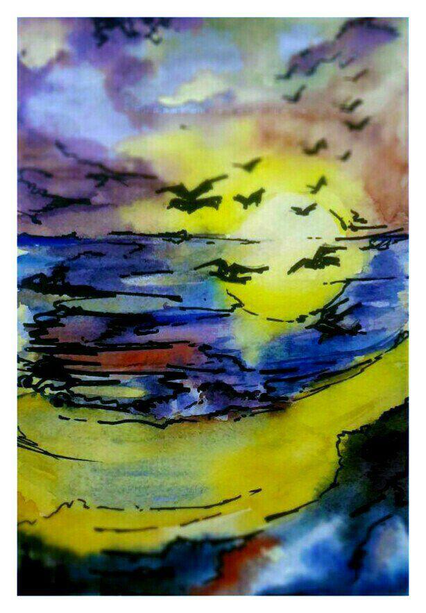 менная закатвосходморе океан чайкисолнцеотды вода