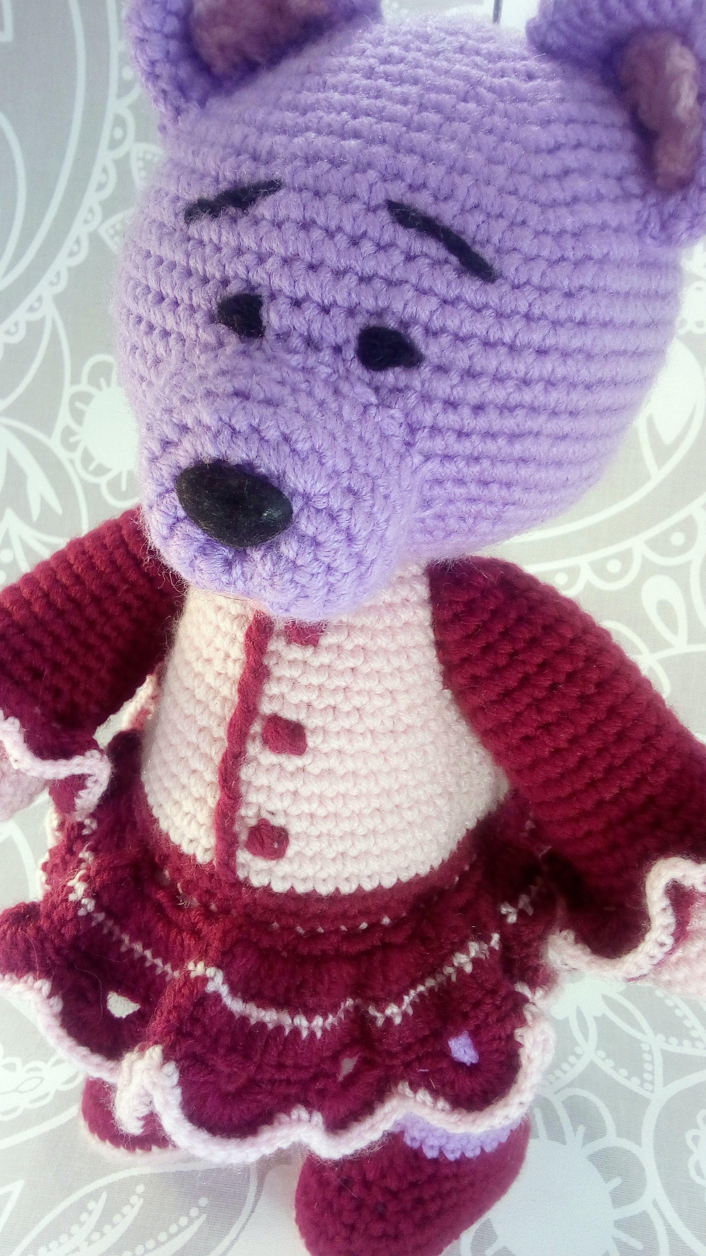 платьице вязаная мишка игрушка медвежонок вязаный