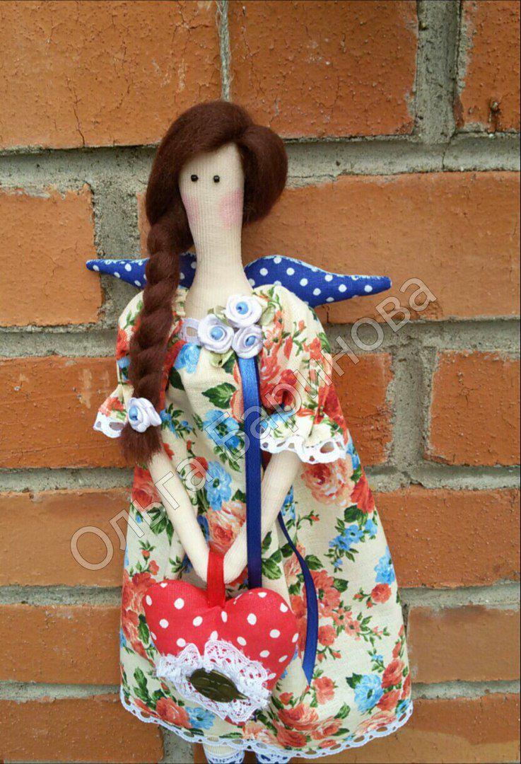 интерьерная ангел тильда маме праздник сердце кукла подарок