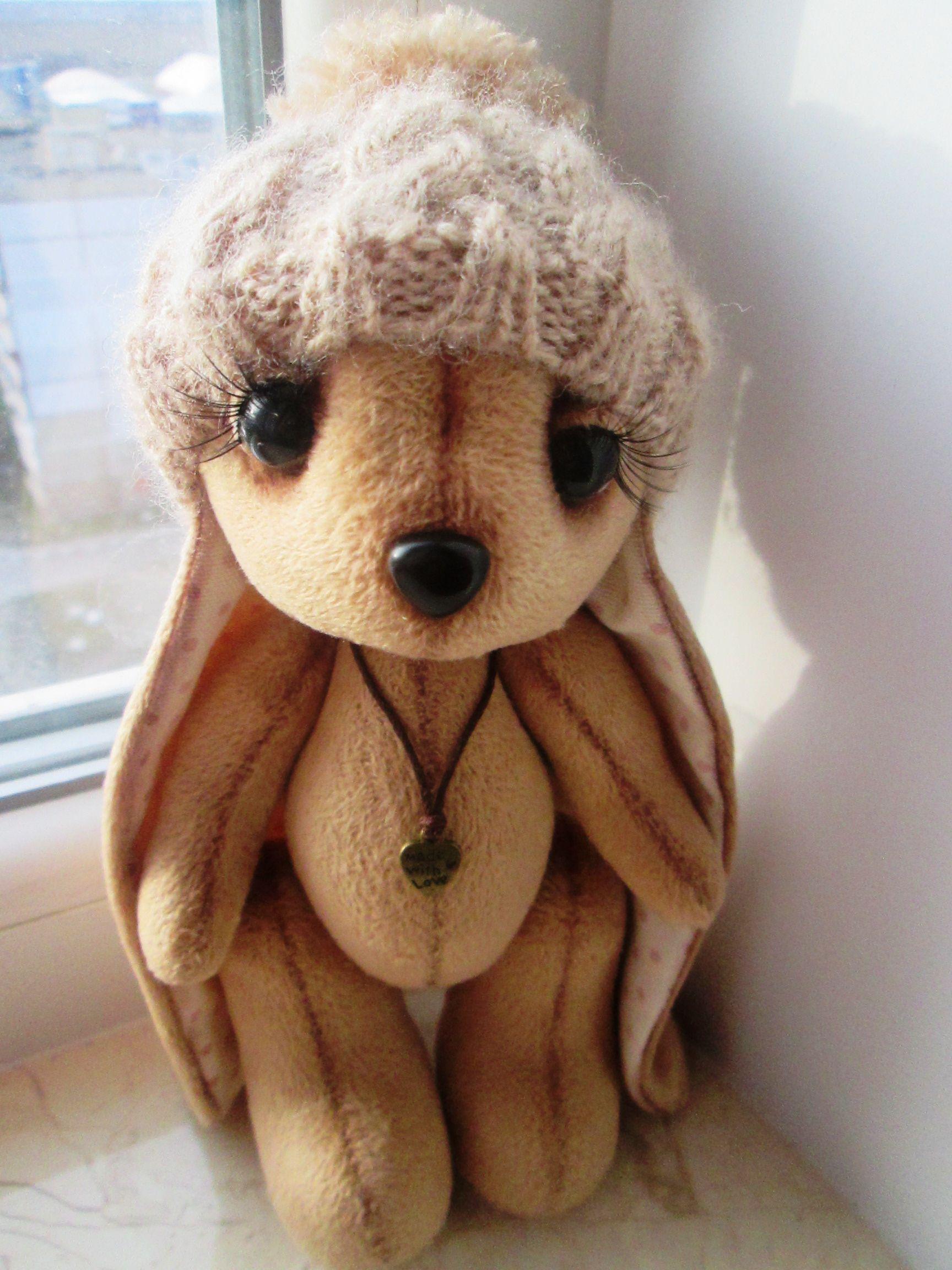 плюшевая игрушка ручная зайка работа текстильная