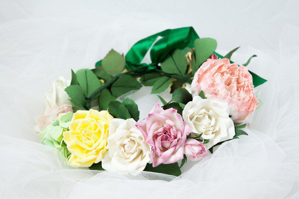 ревелюргортензии цветочный фоамиран пион венок фом роза