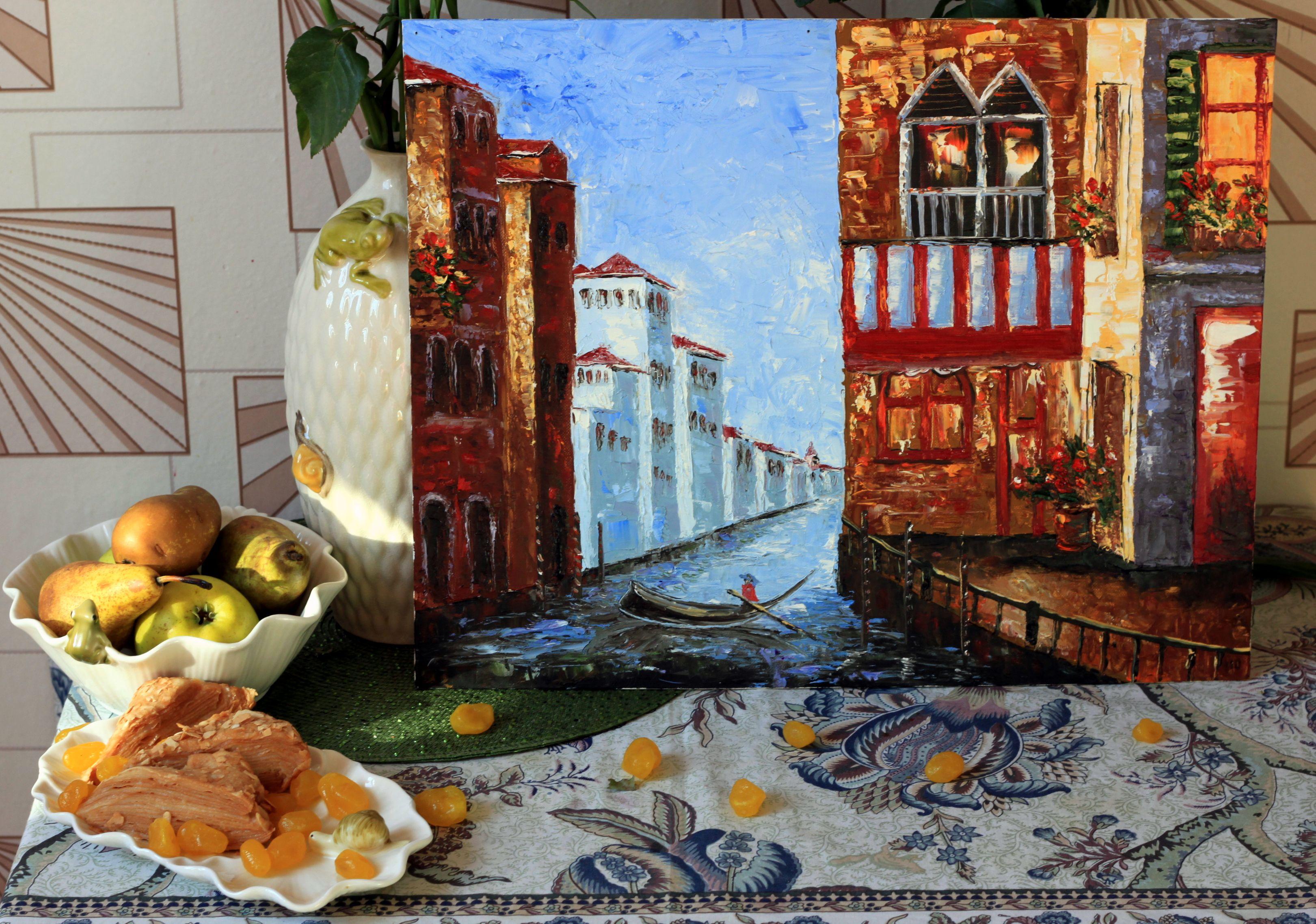 масло гандольер италия канал венеция картина мастихин