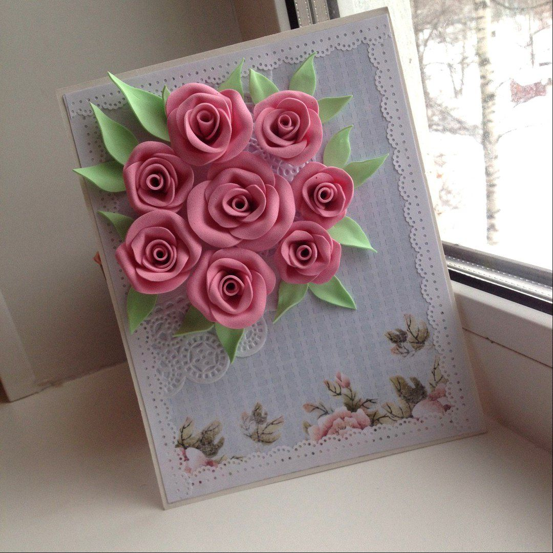 розовый handmade красота розы кружева открытка праздник поздравление авторскаяработа ручнаяработа цветы