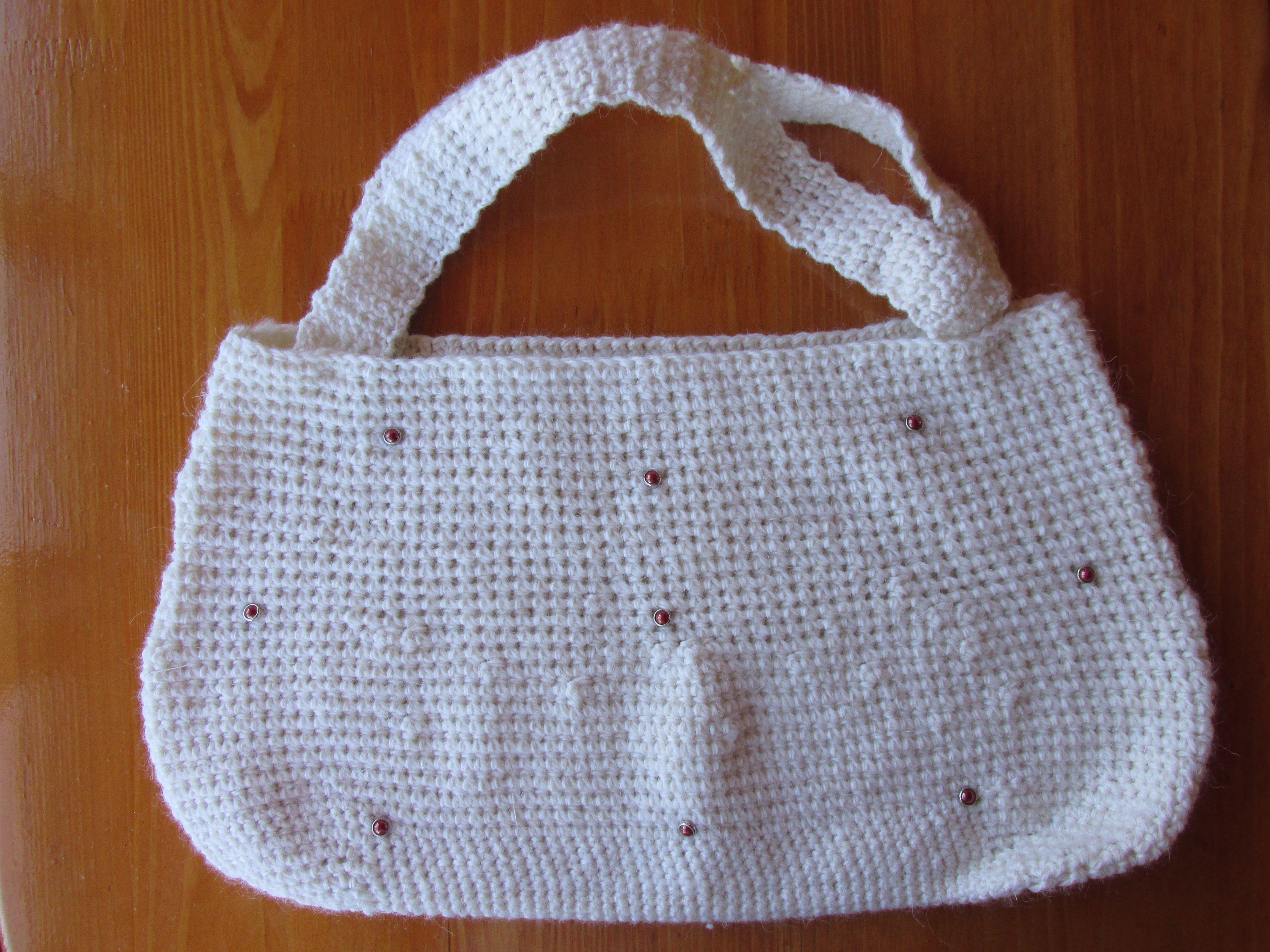 белая женская женщины заказ ручная сумка шипы крючком
