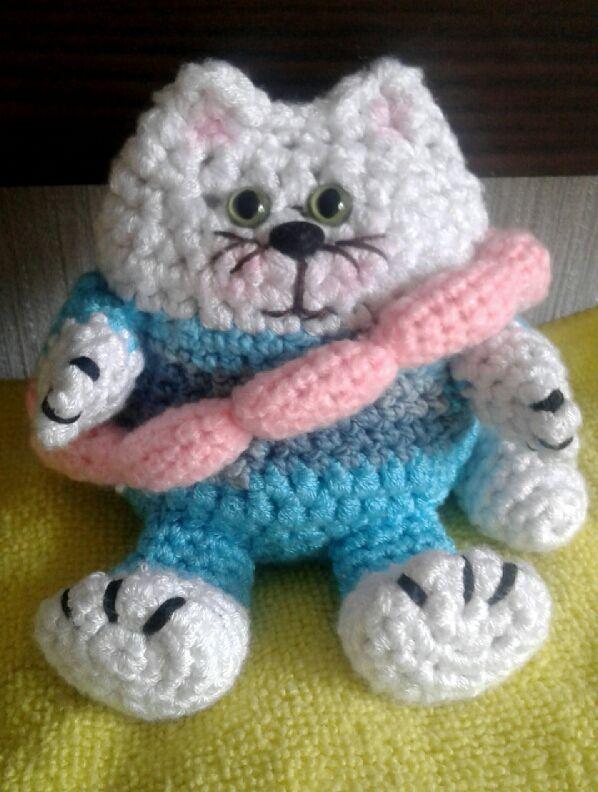 сосиськами вязание ручная игрушка крючком амигуруми работа кот