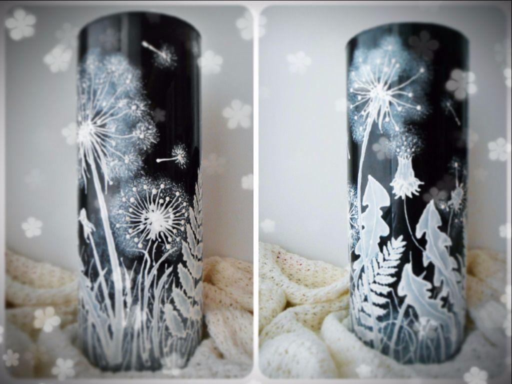 витраж роспись интерьер ваза одуванчик