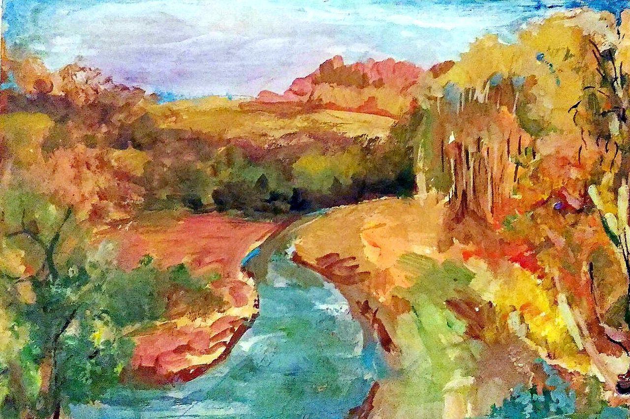 авторская картинаживопись река картина работа осень интерьер осени краски пейзаж