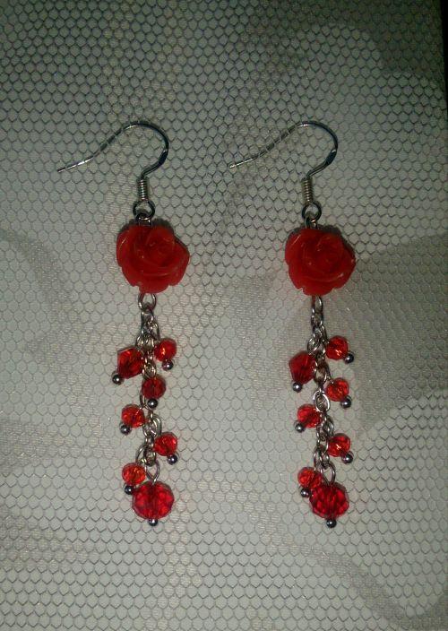 серьги розы подсеребро алый гипоаллергенные цепочки красный ручнаяработа подарок