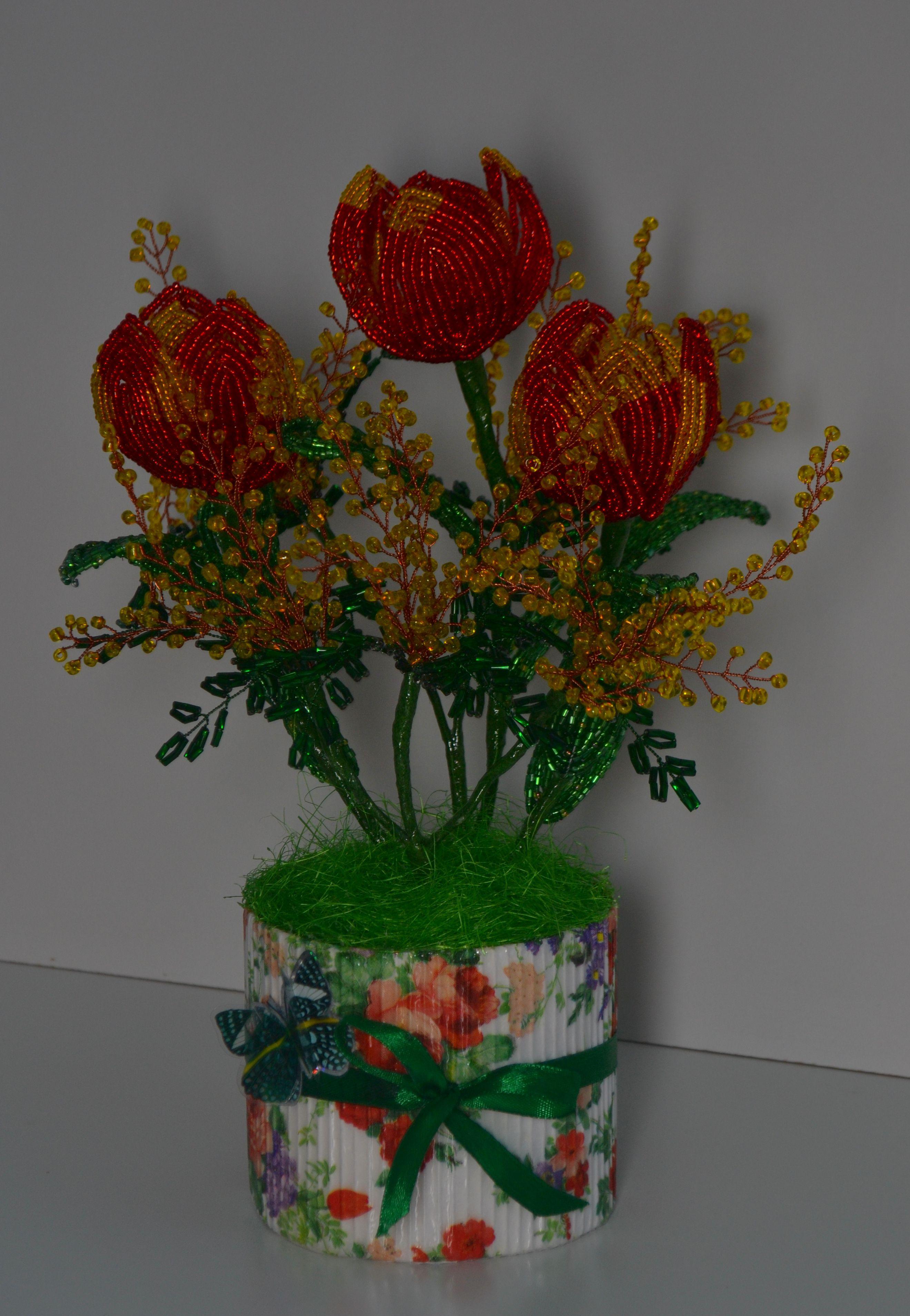 8марта бисер букет сувенир весна подарок цветы