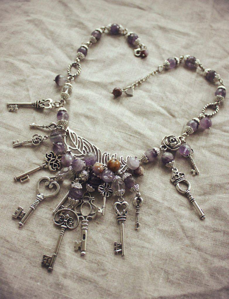 ожерелье длядевушек подарок ручнаяработа дляженщин аметист ledies красота handmade твойстиль ключи