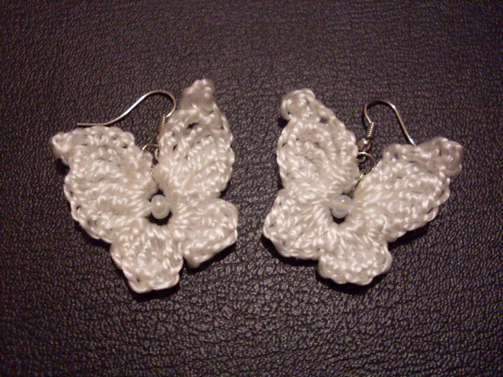 работы серьги вязаныеукрашения ручной бабочки белые