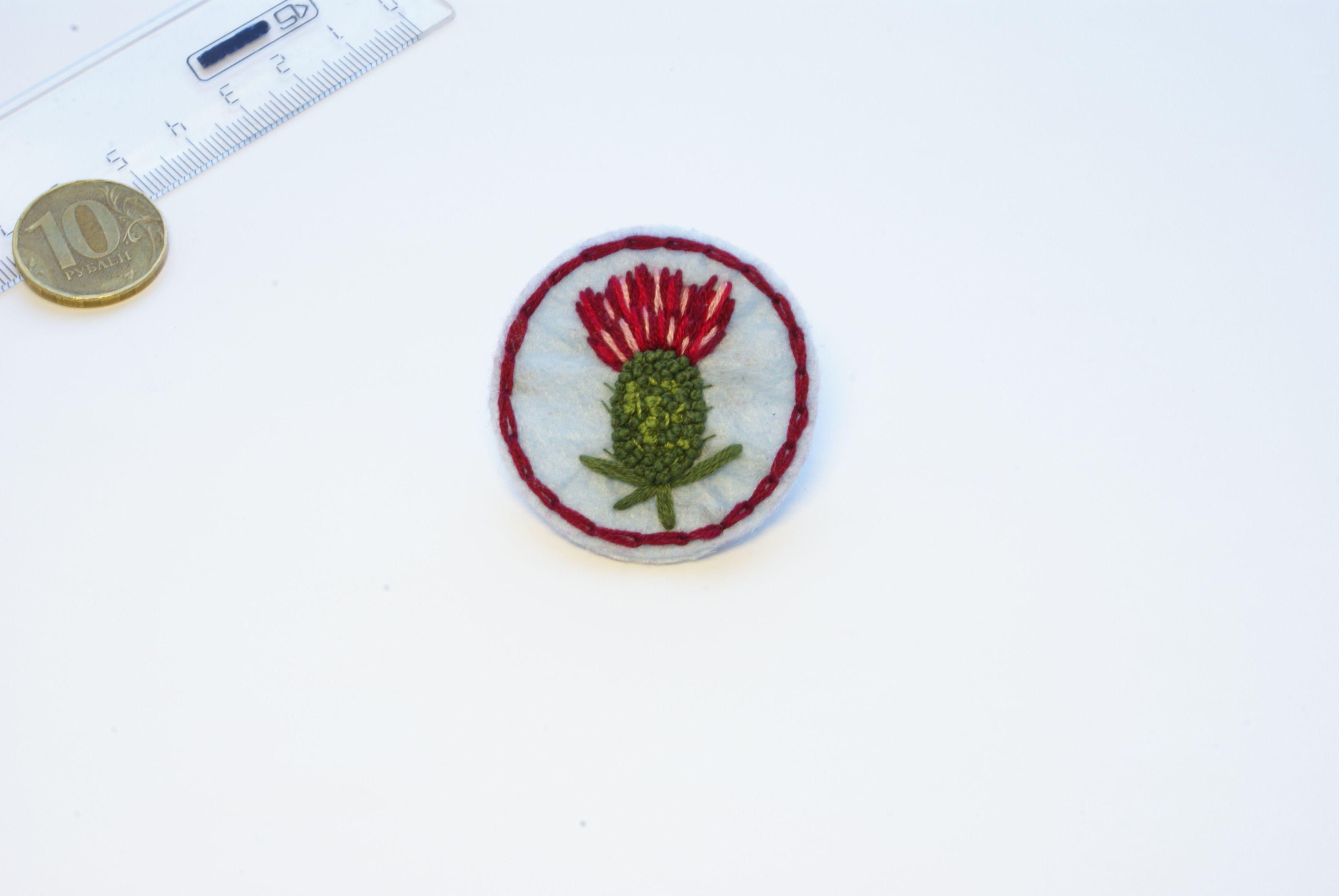 вышивка чертополох брошка брошь украшение ручнаяработа фетр